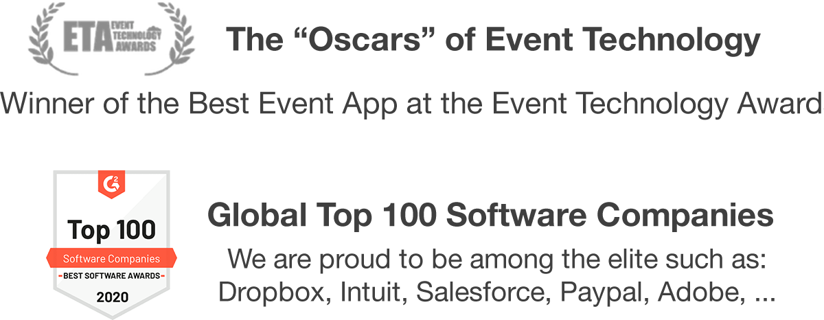 Best event app award, global top 100 software companies