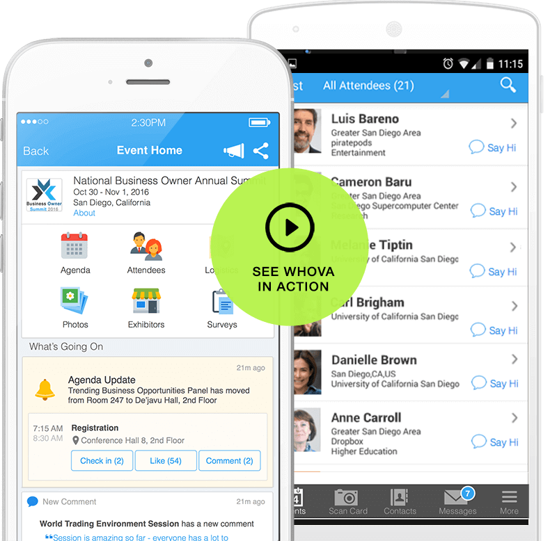 whova event app screenshot bright