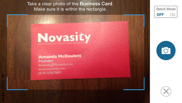 snap business card using phone camera Whova