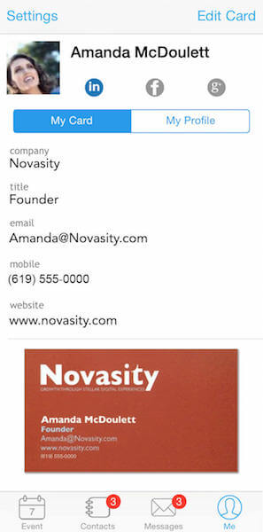 build your own electronic business card in Whova app