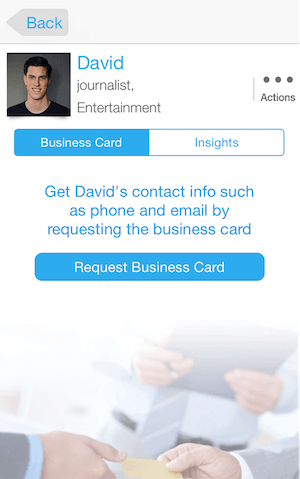 exchange business card in Whova app