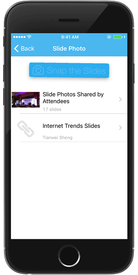 photos/slides Whova app