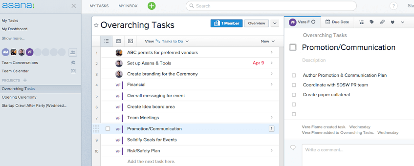 Asana possible for event management
