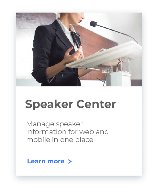 Whova Event Management System's Speaker Center helps you manage speaker info easily.