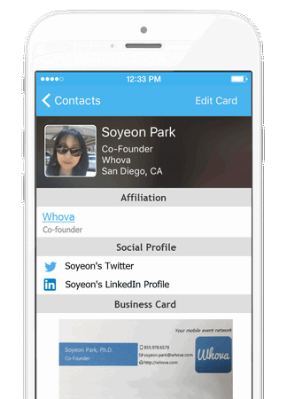 Whova Conference App - Business Card scanning and Attendee Networking