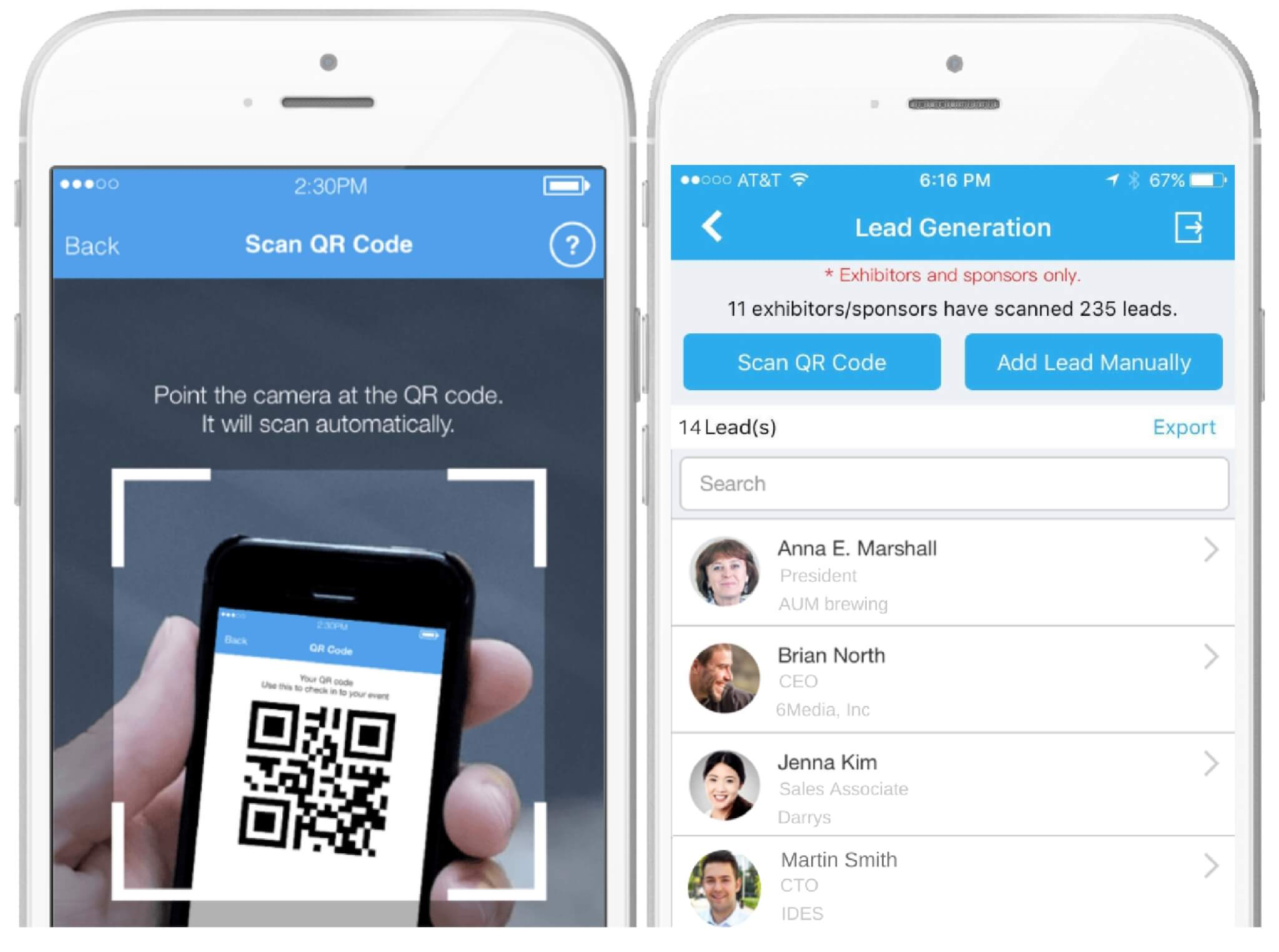 QR Scanner in the Whova Event App