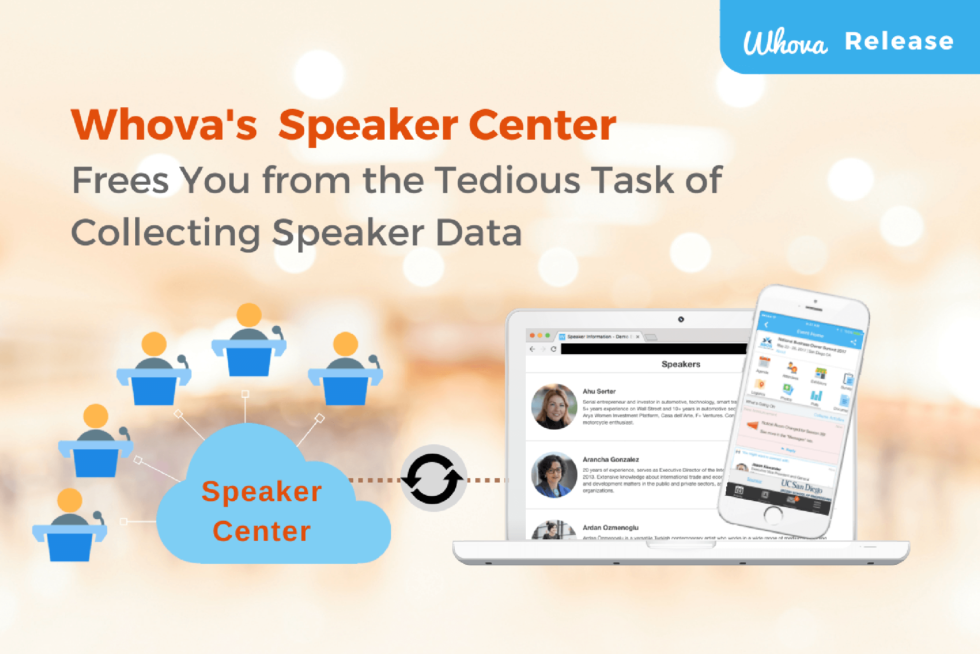 Tired of Emailing Back and Forth to Collect Speaker Data?  Whova's Speaker Center Comes to the Rescue!