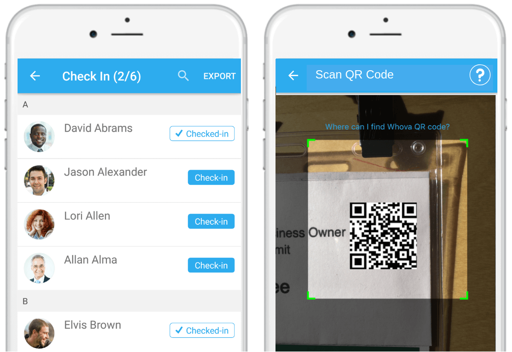 session check-in with Whova event app
