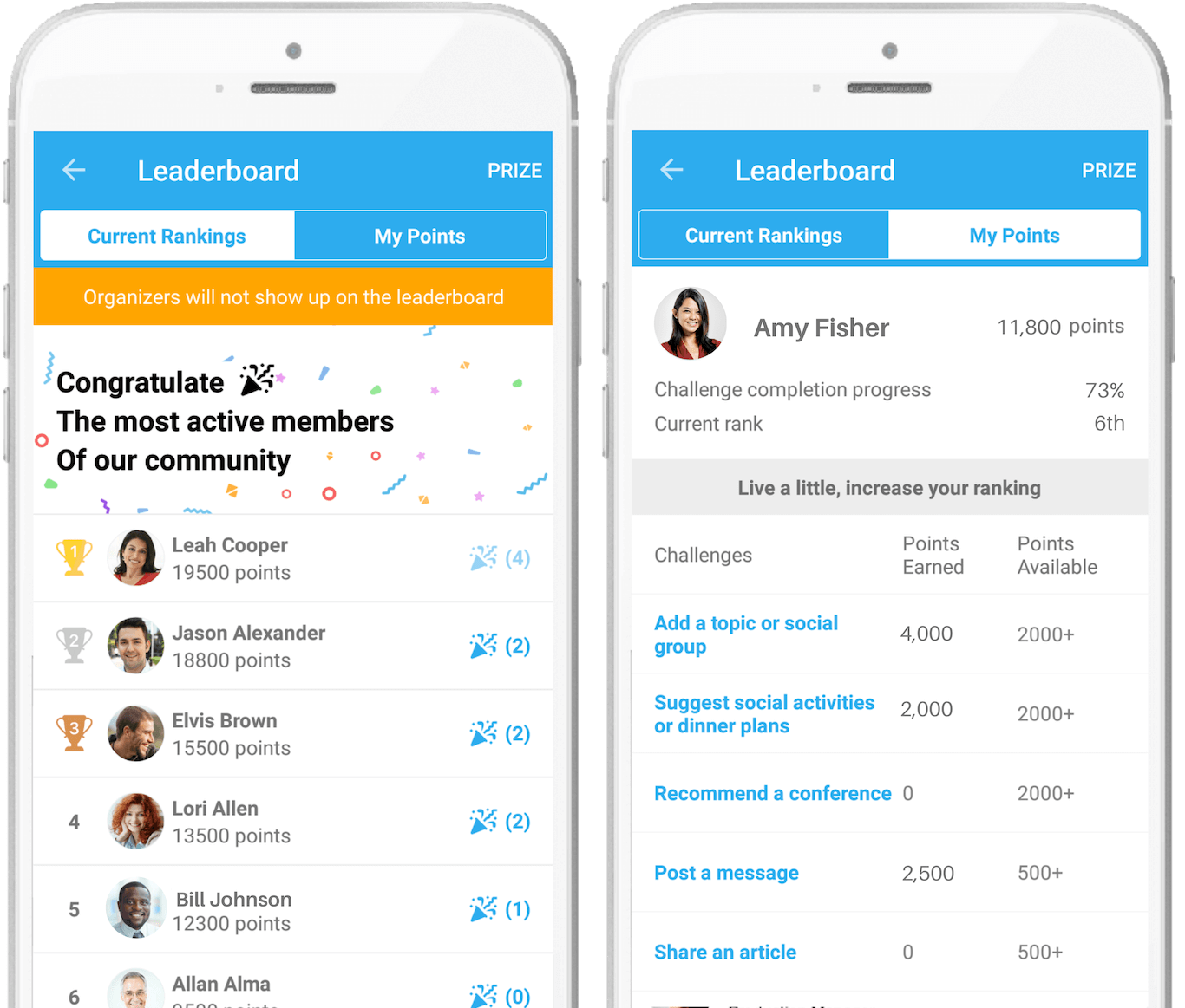 Leaderboard in the Whova event app