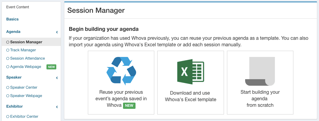 Whova's Session Manager with the option to use past agendas
