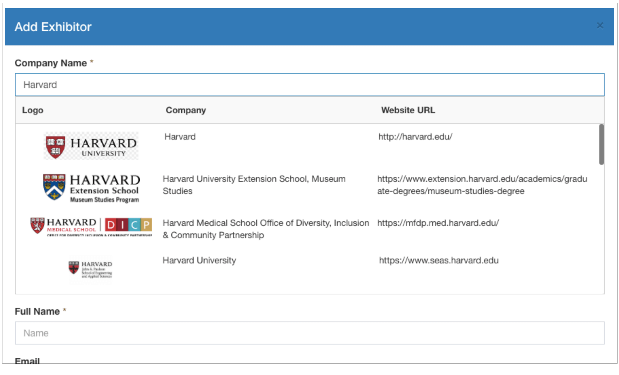 Add Exhibitor window where you can search Whova's database for companies
