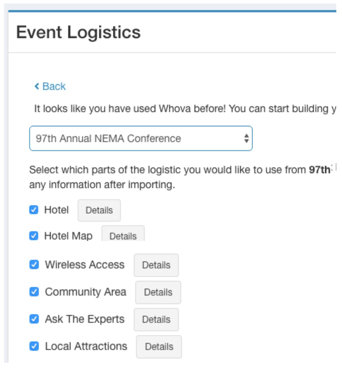 Whova's Event Logistics window with a list of past event logistics