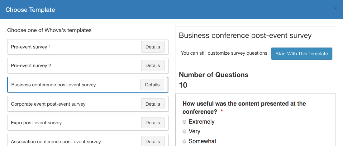 Whova's Mobile Event Surveys: Save Time with 9+ Handy Templates - Whova