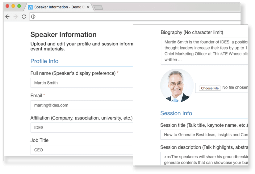 Whova's Speaker Center automates the speaker information collection process