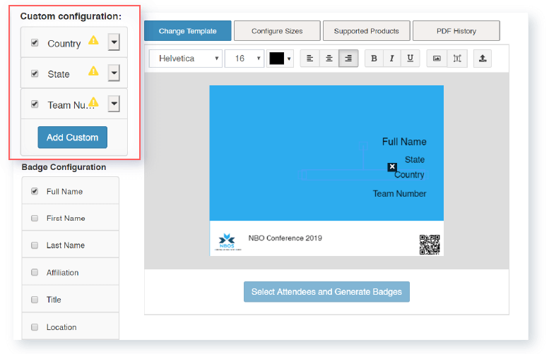 Customize name badges with ease on the Whova dashboard