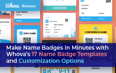 Make Name Badges in Minutes with Whova's 17 Name Badge Templates and Customization Options