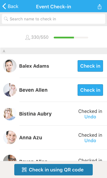 Conference check-in app