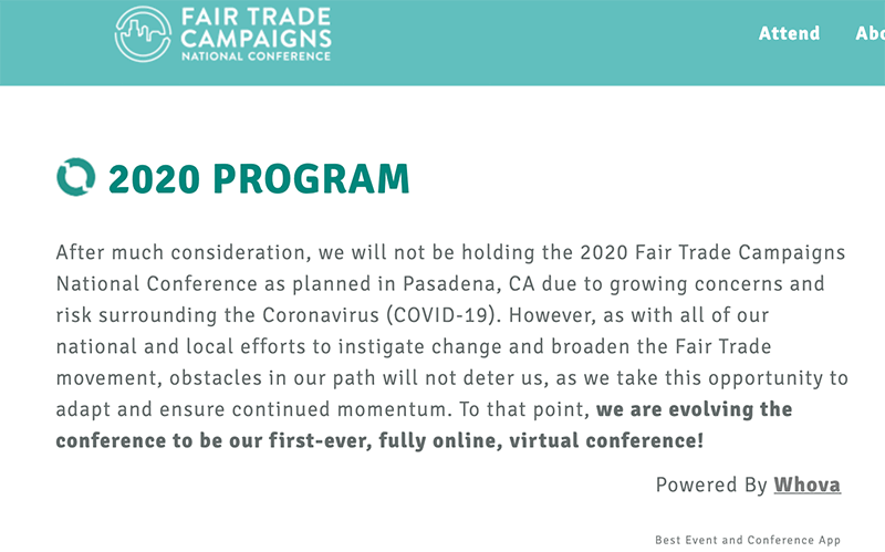 Fair Trade National Virtual Conference Whova
