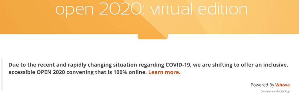 Open 2020 Virtual Conference with Whova