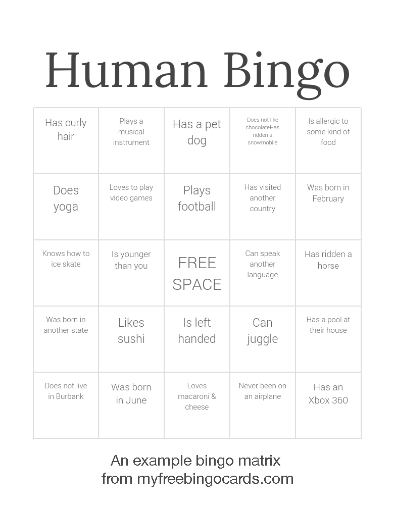 example human bingo matrix