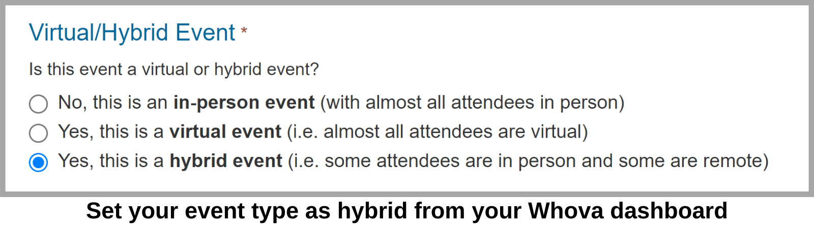 Set your event type as hybrid from your Whova settings.