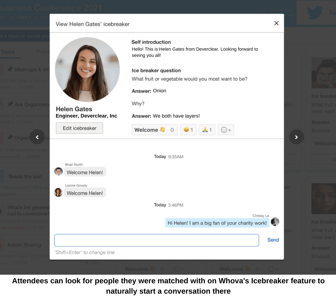 Attendees can look for people they were matched with through the event matchmaking software on Whova's Icebreaker feature