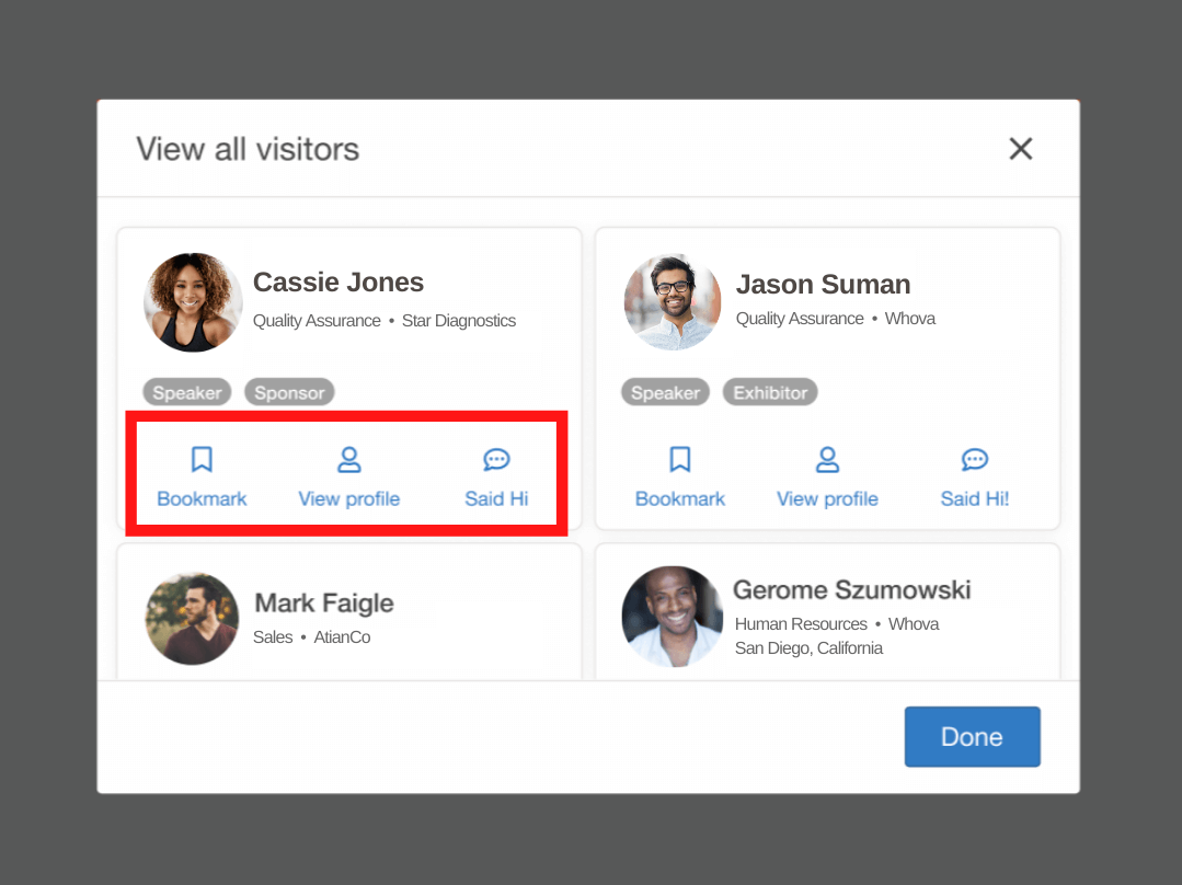 Virtual roundtable hosts can quickly send attendees' in-app messages to follow up after the session