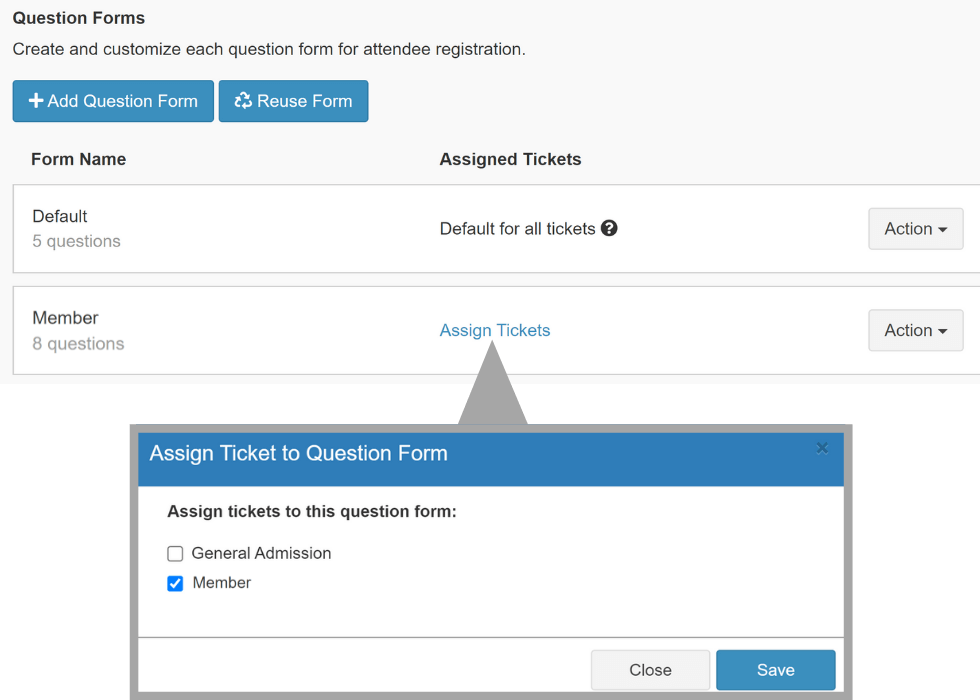 Assign ticket types to registration forms with just a click