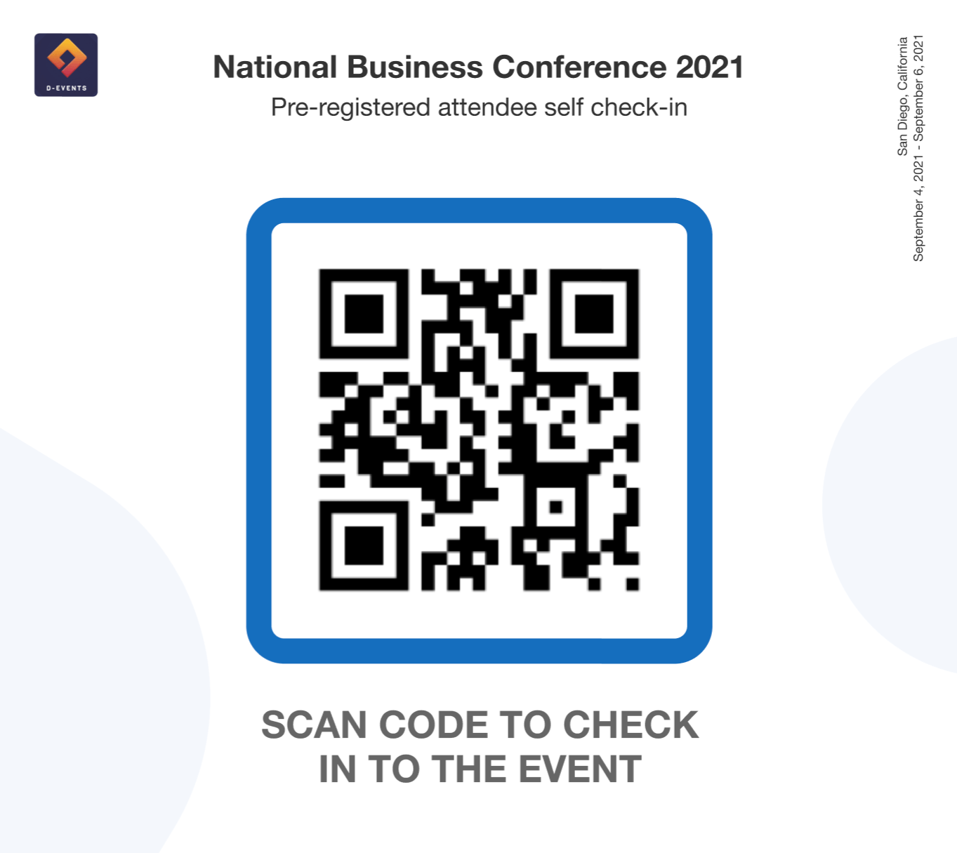 Attendees just have to scan a printable QR code to be taken to a check-in screen on their own devices