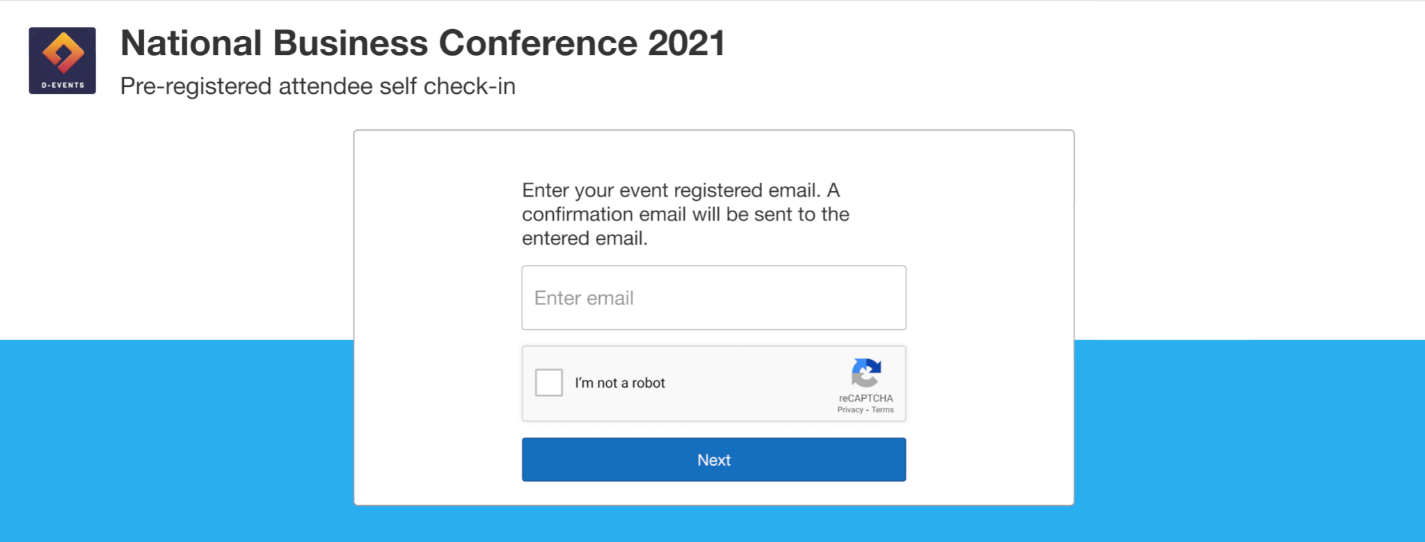 Attendees can check themselves in with the email they used to register for the event