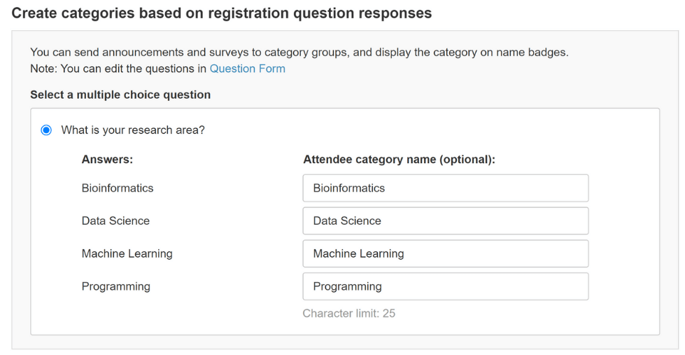 Assign attendee categories based on their answers to registration questions